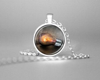 LIGHT BULB NECKLACE Light Bulb Charm Necklace Light Bulb Pendant Light Bulb Jewelry Light Bulb Art Creativity Necklace Creativity Pendant