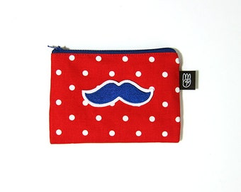 Red Polka Dot Coin Purse, Credit Card Purse, Small Zip Pouch, Card Pouch with Embroidered Blue Mustache Patch