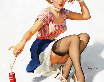 "Vintage Pinup Art Girl // Fourth of July by Gil Elvgren// 32""x41"" Digital Download // Easy to Size Down"