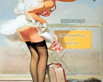 "Vintage Pinup Art Girl // ""Airport Accident"" by Gil Elvgren // 16""x20"" Printable Digital Download // Easy to Shrink"