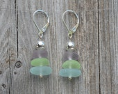 Pure sea glass in aqua, lime and lavender, sterling and fine silver earrings with leverback ear wires