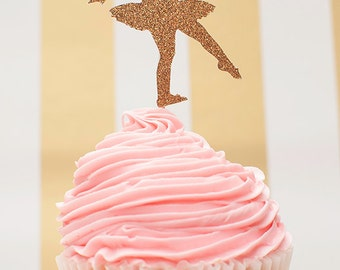 Ready To Ship - Ballerina Gold Glitter Cupcake Toppers