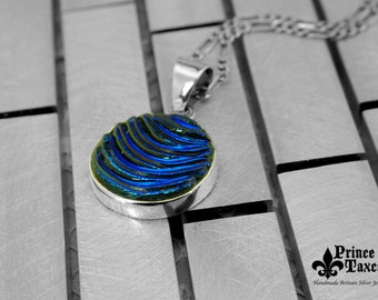 "OMADI_026 Taxco .925 DICROIC glass and STERLING silver pendant ""Art Circle"". 100% handmade. Free shipping."