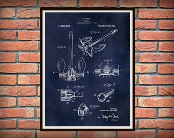 Patent 1921 McNab Ship Anchor Patent Art Print - Poster - Nautical - Boat Anchor - Marina Wall Art - Bait Shop Art