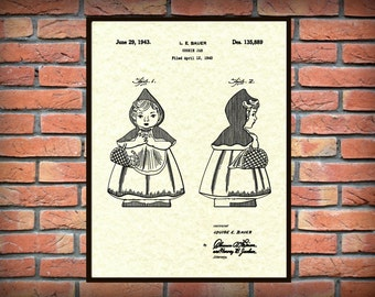 Patent 1943 Little Red Riding Hood Design for a Cookie Jar for Hull -  Art Print - Kitchen Wall Art - Poster - Home Decor