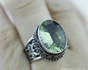 Size 8 - PRASIOLITE Green Amethyst 925 S0LID (Nickel Free) Sterling Silver Vintage Setting Ring & FREE Worldwide Express Shipping R1718