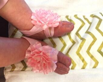 Barefoot Sandals, Sandals, Barefoot, Barefoot Baby Sandals, Baby Girl Barefoot Sandals Set with matching Flower Headband