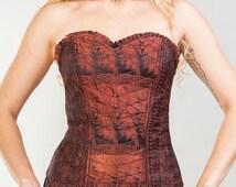 Satin vintage corset, burlesque corset, indian saree corset