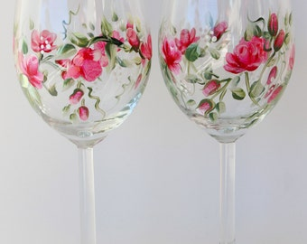 Hand Painted Wine Glasses Pink Roses