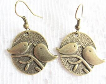 Birds Zinc Alloy with Brass Ear Wire Earrings, Bronze Toned
