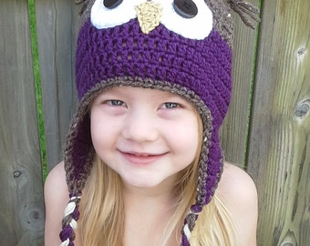 Owl Hat - Woodland Animal Hat - Winter Beanie - Owl Hat with Earflaps - Toddler and Child Sizes - Handmade Crochet Owl Hat - Cute Owl Hat