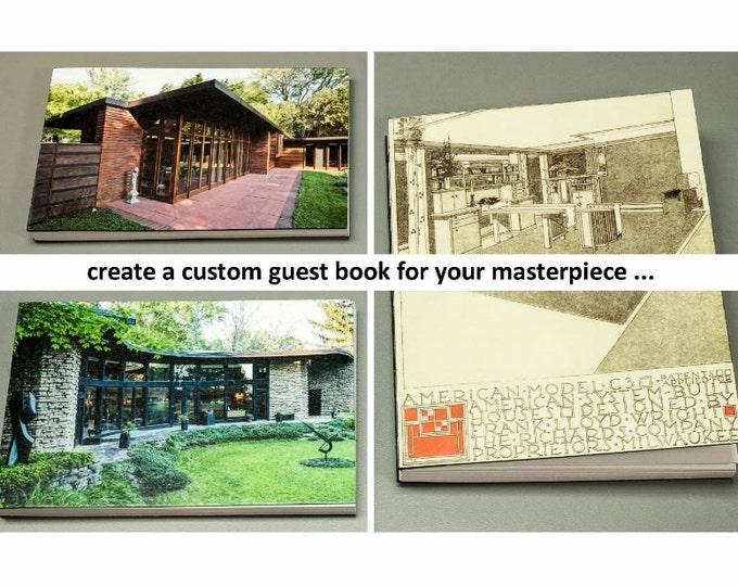 CUSTOM HOUSE GUESTBOOK handmade coptic bound blank guest book journal housewarming gift with personal artwork image photo | aBoBoBook 6097