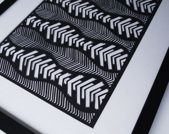 Framed Hand-cut Geometric Papercut