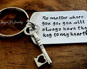 Handstamped Keychain, No Matter Where You Go You Will Always Have The Key To My Heart, Personalized Keychain with Key Charm, Long Distance