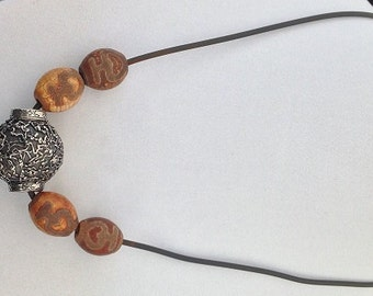 Necklace with Large Fine Silver Bead and Glass Beads