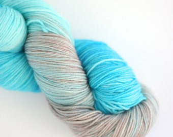 Hand Dyed Yarn.Turquoise, Gray, Lilac. Variegated. Sock weight.463 yds. Merino/Nylon/Superwash. Turq Gray.