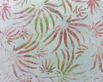 BatBatavian Batik 22086 472,Mint Green Background with a Modern Touch of Variegated Colored Flowers.