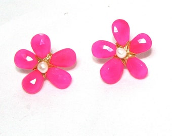 Hot Pink Chalcedony and Freshwater Pearl Flower Earrings