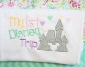 Girls Disney Shirts 1st Disney Trip Castle Shirt Disney Customized Monogrammed
