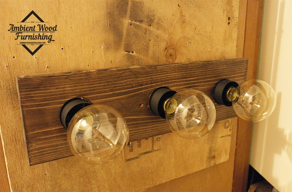 Bathroom Vanity Lights Etsy : Industrial Bathroom Vanity Light Fixture Pine panel by AmbientWood