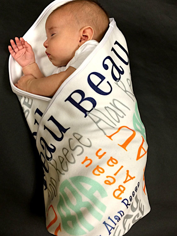 Monogrammed Baby Blanket Baby Name Blanket Birth Announcement
