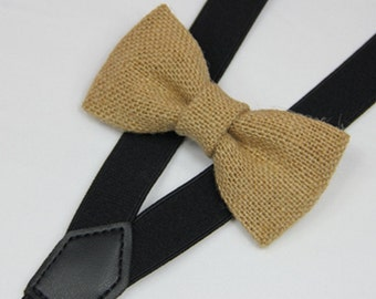 Suspender Bowtie set Burlap Baby bow tie black Suspenders Jute Boys Bowties Tan Toddler Necktie  suspender,Mens bowtie Wedding  groomsman