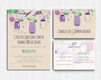 DIGITAL, Purple Green Wedding Invitation, Mason jars, Printable, wedding invite, Printable Digital file, Wedding Invitation, rustic, mauve
