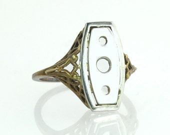 Estate Antique Art Deco 14K Yellow Gold Filigree Semi Mount Ring 2.9g RARE Antique Jeweler Stock