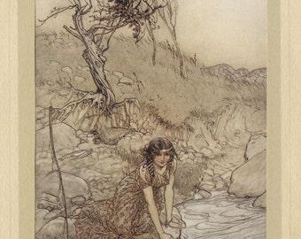 Hermia, original Arthur Rackham tipped-in plate for Midsummer Night's Dream, c1910.