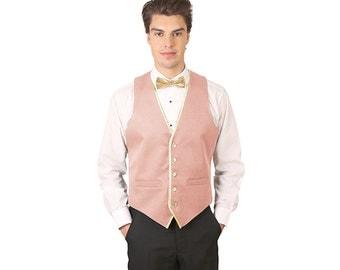 Men Peach Back Dress Vest with Gold Trim