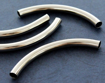 5 pcs 7x80 mm Curved Brass Tube Silver Color