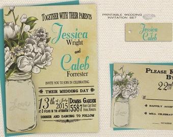 DIY Country Wedding Invitations, Backyard Wedding Invitations, Printable Rustic Wedding Invitations, White Peonies