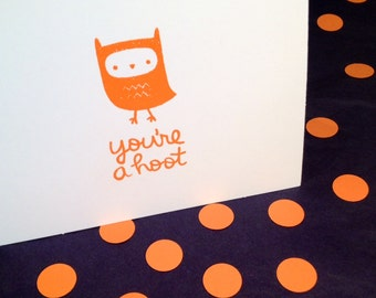 Owl Folded Note Cards and Envelopes - You're a Hoot - Orange and White - Set of 8