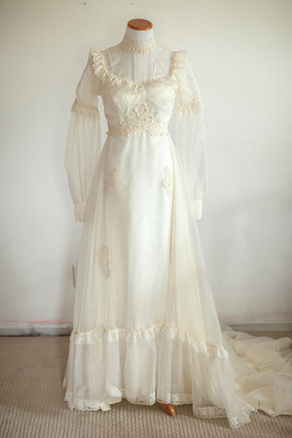 Sale 1970s boho hippie wedding dress ivory cream by for 1970s wedding dresses for sale