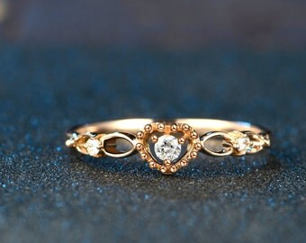 Antique Style Diamond Ring in 18k Rose Gold Victorian Engagement Ring Wedding Birthday Anniversary Valentine's