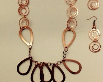 Copper Loops and Swirls Necklace and Earring Set
