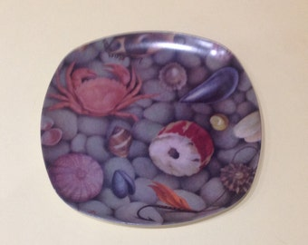 A Trio of 1960s Genuine Praesidium Melamine Picnic Plates with a Sea Shore Rock Pool design
