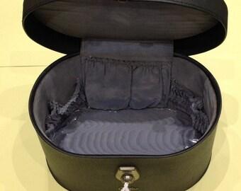 1960's VANITY CASE / Weekend Case / School Bag: In Dark Grey by Antler of Birmingham England