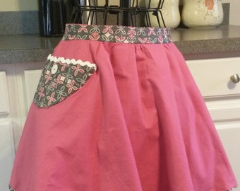 Pink and Black Reversible Half Apron w/ Pockets