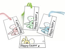 Easter printable tags, Easter bunny gift tags, Easter printables, Easter favor tags, Happy Easter Printable