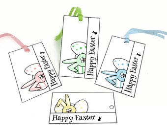Easter printable tags, Easter bunny gift tags, Easter printables, Easter favor tags, Happy Easter Printable