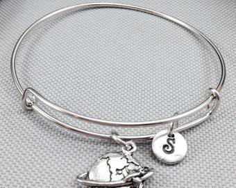 Globe bangle bracelet, world bracelet, travel bracelet, airplane bracelet, globe bracelet, personalized bracelet, adjustable bangle