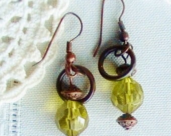 Translucent Sage Earrings  Copper Earrings Translucent