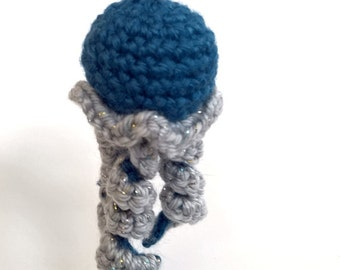 Handmade jellyfish ornament - amigurumi crochet doll