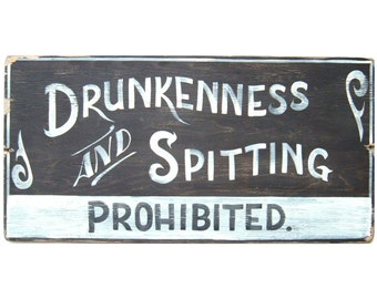 Home Bar Decor, Vintage Inspired Sign, Hand Painted, Saloon Decor