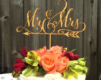 Mr & Mrs arrow cake topper, Rustic Wedding Arrow Cake Topper, Mr and Mrs Wedding Cake Topper, Wedding Decor, Wedding Reception