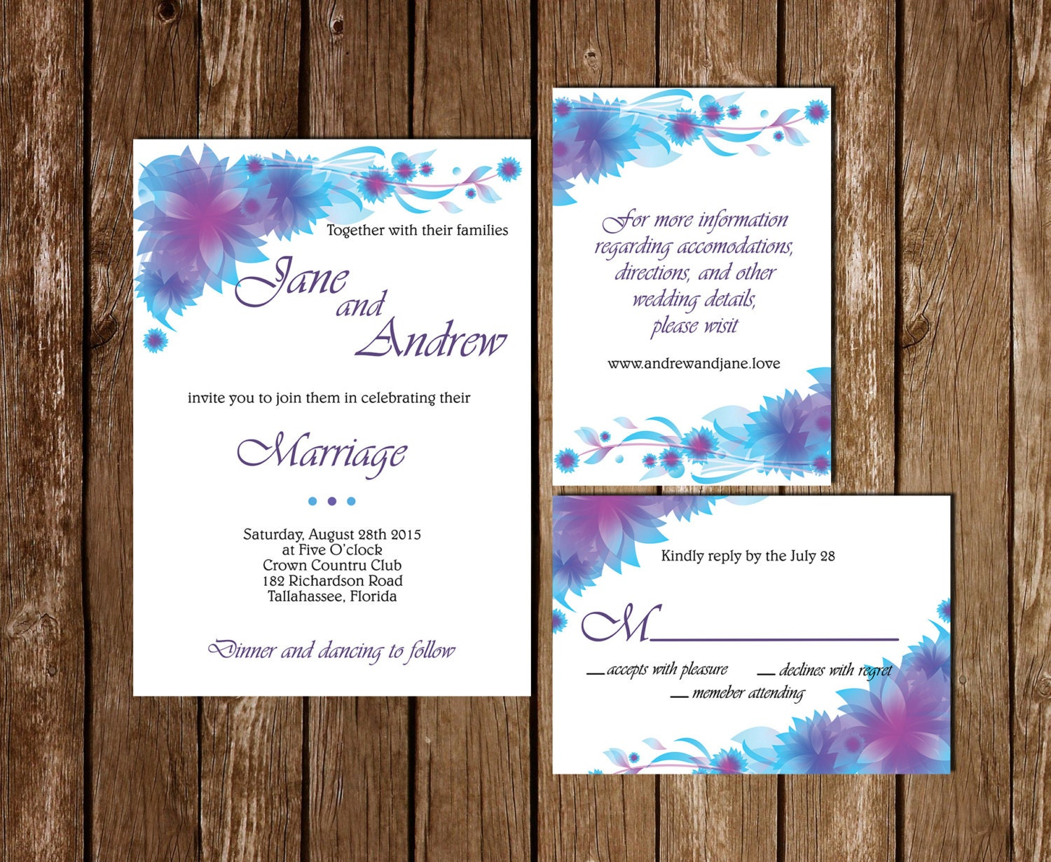 Printable Wedding Invitation RSVP Information Card