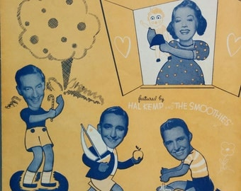 Playmates, 1940, Vintage Sheet Music, Hal Kemp, The Smoothies, Guitar chords, Santly Joy Select Music Publishers, Broadway, New York, Song