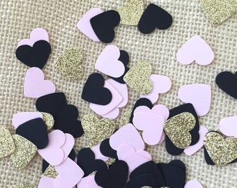 Pink, Gold Glitter and Black Heart Confetti,Bridal Shower Decoration,Table Decor,Wedding,Heart Confetti,Invitation Stuffer,Party Decorations