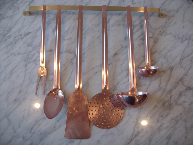 Vintage solid copper kitchen utensil set with brass bracket for Kitchen set utensils
